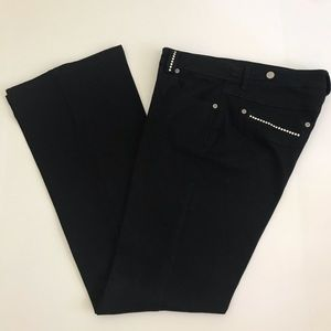 Cache Black Flare Crystal Bling Jeans Size 8